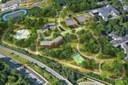 Vizualizace celkového pohledu na novou část areálu U Cementárny.
