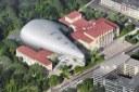Letecký pohled na ostravskou koncertní halu.