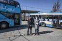 Primátor Tomáš Macura a generální ředitel DPO Daniel Morys ukončili 9. dubna provoz dieselovým autobusů.