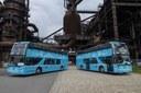 Patrové autobusy Dopravního podniku Ostrava před premiérovou jízdou.